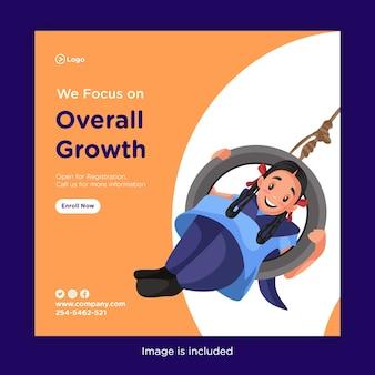 O design do banner de nós nos concentramos no crescimento geral com balançando a menina da escola