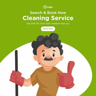 O design do banner do homem da limpeza está usando luvas e dando sinal de positivo.
