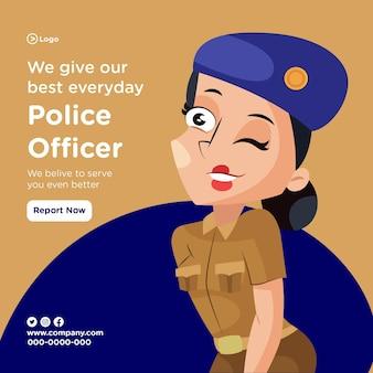 O design do banner do policial dá o nosso melhor todos os dias com a senhora policial fazendo os olhos