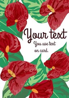 O design do cartão de flores de flamingo vermelho.
