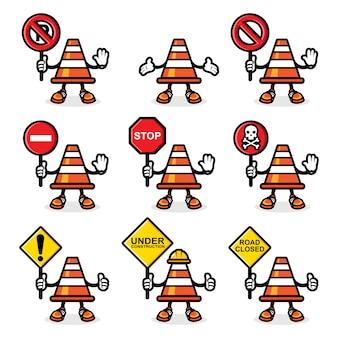 O design do cone de trânsito do cone laranja mostra um sinal de perigo