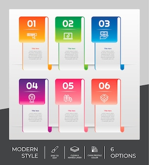 O design do infográfico com 6 opções pode ser usado para fins de fluxo de trabalho, apresentações e negócios.
