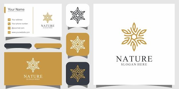 O design do logotipo da flor com logotipos de estilo de arte de linha pode ser usado para boutique de decoração de salão de beleza e cartão de visita