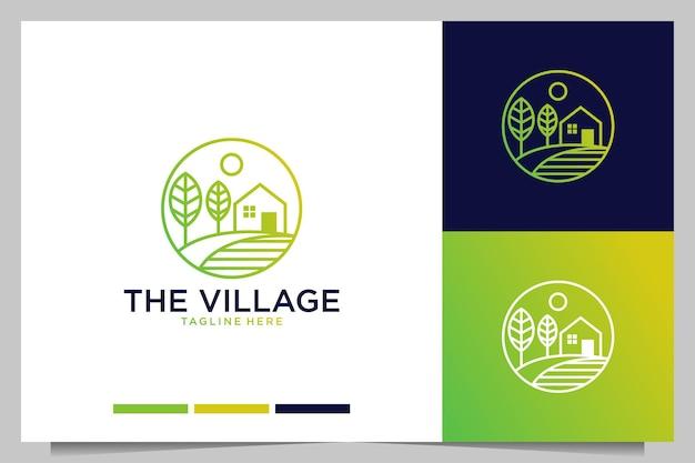 O design do logotipo do estilo da arte da linha verde da vila