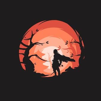 O design do logotipo do guerreiro samurai
