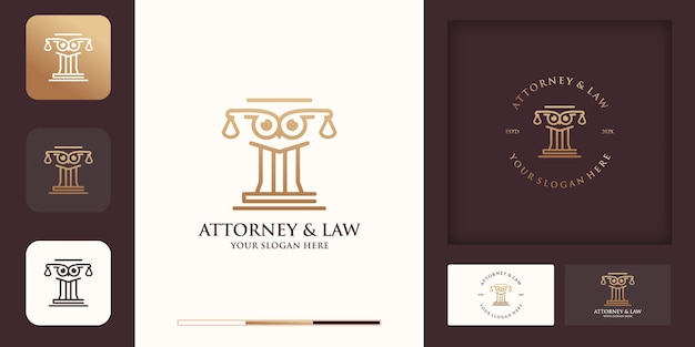 O design do logotipo do polo de lei da coruja usa o conceito de linha e o cartão de visita