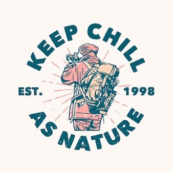 O design do logotipo mantém a calma enquanto a natureza est. 1998 com um fotógrafo tirando fotos ilustração vintage