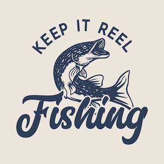 O design do logotipo mantém a pesca do carretel com ilustração vintage dos peixes do lúcio do norte