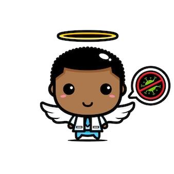 O design do médico é um anjo com um símbolo de parada de vírus