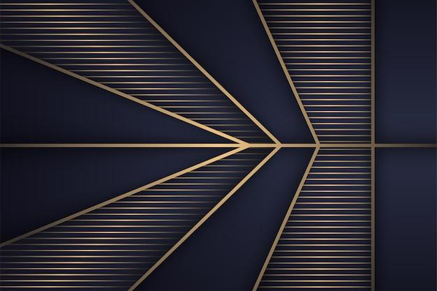O design do modelo abstrato de luxo usa cores gradientes de ouro e azul seta forma poligonal