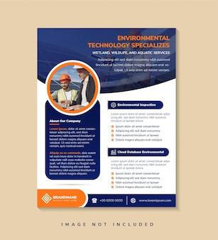 O design do modelo do folheto com o título é serviços de tecnologia ambiental espaço de colagem de fotos
