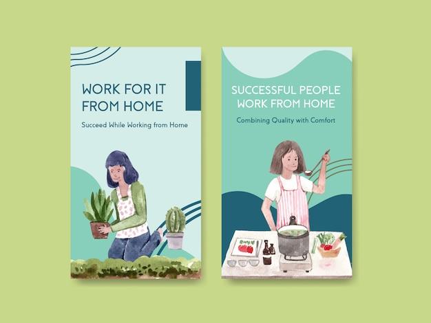 O design do modelo do instagram com as pessoas está trabalhando em casa e cozinhando, no jardim. ilustração em vetor em aquarela conceito escritório em casa