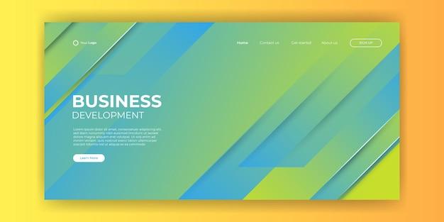 O design do modelo do site e as formas dinâmicas da linha da página de destino são de fundo azul. ilustração vetorial para desenvolvimento de aplicativos, celular, modelo de interface do usuário