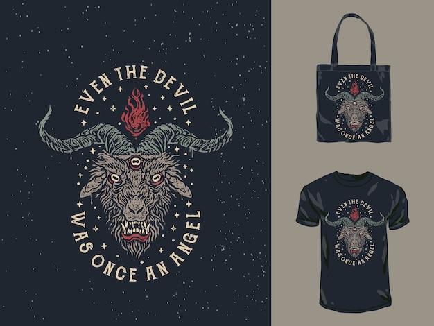 O design do t-shirt de satanás da cara do diabo do vintage