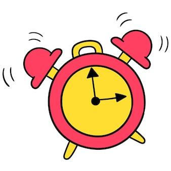 O despertador está tocando alto. emoticon de caixa. desenho do ícone do doodle, ilustração vetorial