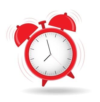 O despertador está tocando. hora de acordar design plano.