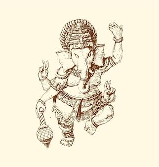 O deus indiano de ganesha. ilustração gráfica do vetor