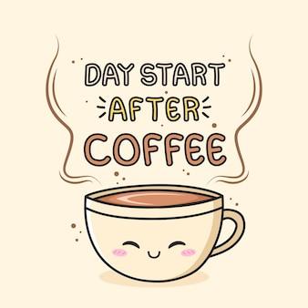 O dia começa depois do café com uma taça de café kawaii