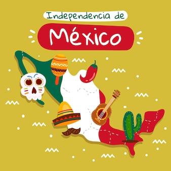 O dia da independência do méxico e elementos tradicionais
