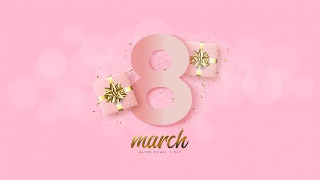 O dia da mulher com ilustração numera 8 rosa com uma caixa de presente 3d.