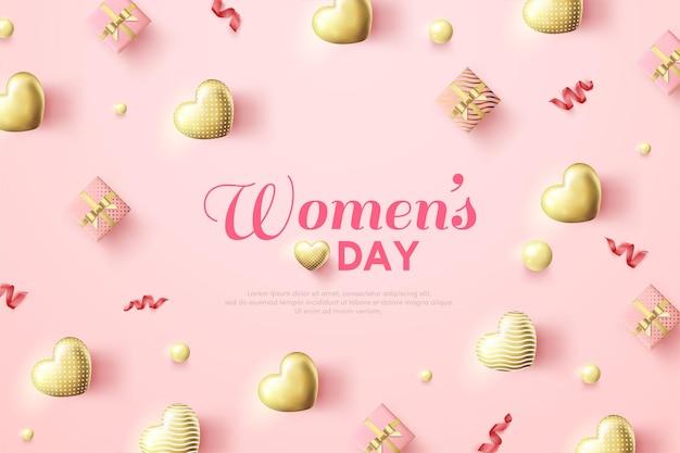 O dia da mulher com uma ilustração 3d da caixa de presente e um balão dourado do amor.