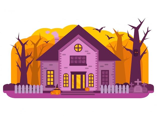 O dia das bruxas assombrou a lápide do cemitério da casa velha, fantasmas e abóbora, morcego.
