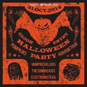 O dia das bruxas cartaz festa grunge