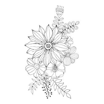 O dia de valentim feliz com vetor do estilo do livro para colorir do ramalhete da garatuja da flor.