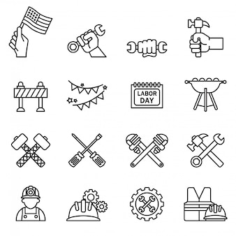 O dia internacional do trabalhador e o ícone da ferramenta da indústria ajustaram-se com fundo branco. vetor de estoque de estilo de linha fina.