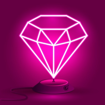 O diamante de néon rosa no suporte brilha