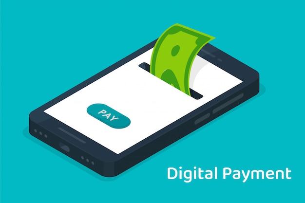 O dinheiro armazenado em um telefone celular com moeda digital para compras on-line.