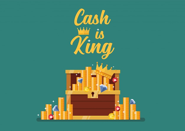 O dinheiro é o rei da tipografia com o baú aberto cheio de tesouros