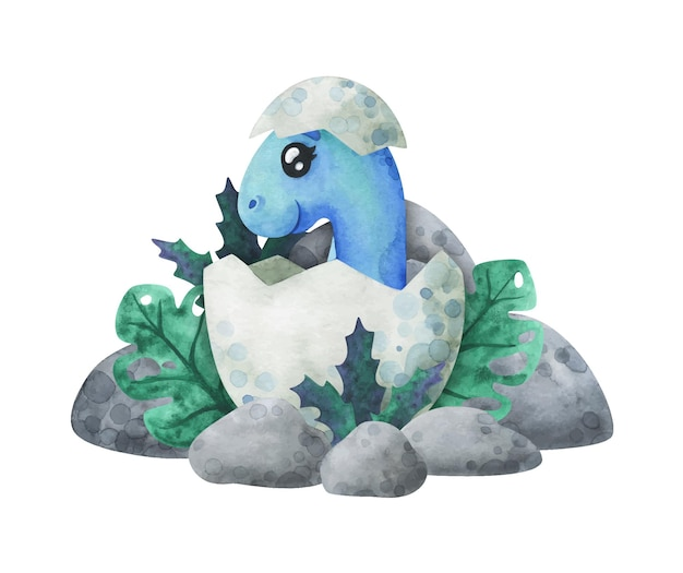 O dinossauro bebê azul eclodiu de um ovo na selva. impressão de desenho animado com um diplodocus na concha. personagem fofa