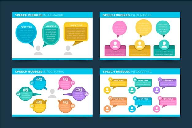 O discurso borbulha infográficos em design plano