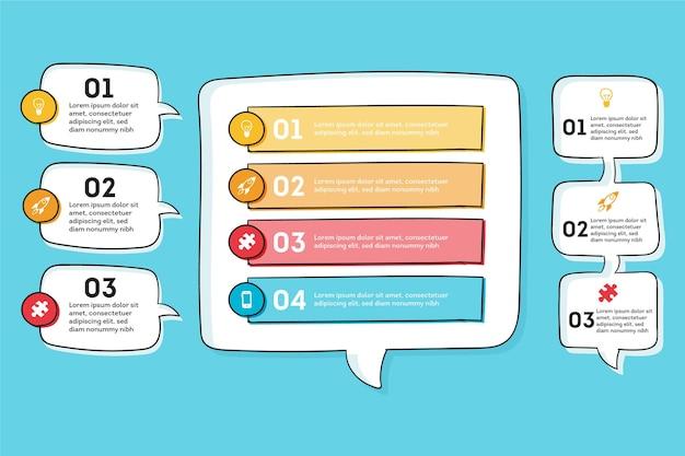 O discurso desenhado à mão borbulha infográficos