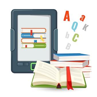 O dispositivo ebook contém milhões de livros em papel publicados em formato digital