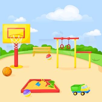 O divertimento do parque dos desenhos animados do parque joga o equipamento exterior da criança da ilustração do jardim de infância da criança.