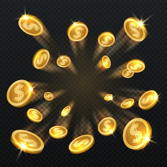 O dólar dourado inventa a explosão isolada. ilustração do vetor para o conceito da finança e do jogo. dólar da moeda de ouro e fortuna das finanças