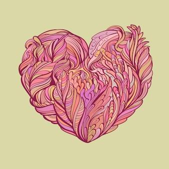 O doodle de coração flora