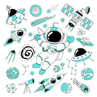 O doodle de espaço desenhado à mão precisa de mais espaço nas cores preta e turquesa