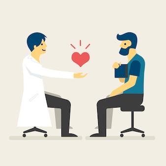 O doutor dá um paciente afortunado com ilustração nova do coração.