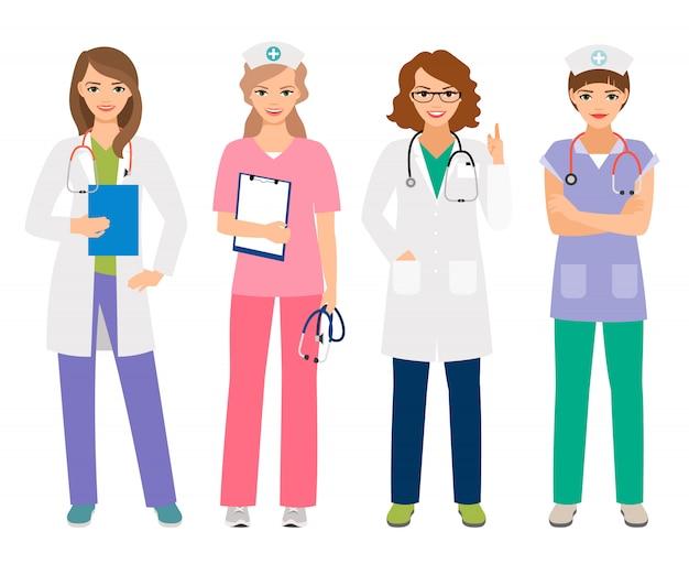 O doutor e a mulher fêmeas novos nutrem a ilustração do vetor dos caráteres. sorrindo, hospitalar, trabalhadores, ficar, mulheres, retrato, isolado