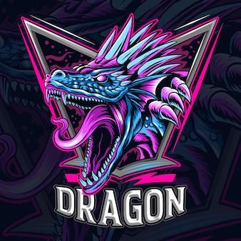 O dragão como logotipo de e-sport ou mascote e símbolo