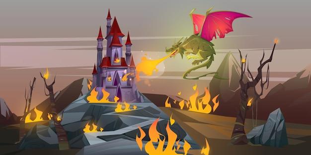 O dragão de respiração de fogo de conto de fadas ataca o castelo mágico no vale da montanha.