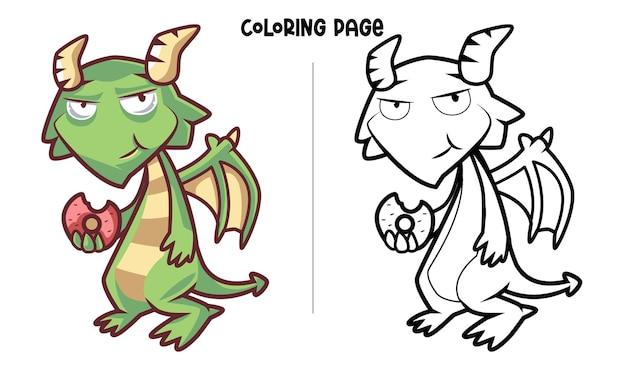 O dragão verde está comendo uma sobremesa