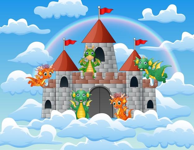 O dragão voou em torno do palácio de conto de fadas na nuvem