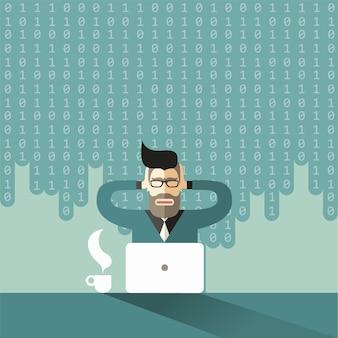 O economista cientista barbudo e de óculos embreagem sua cabeça hipster sob a avalanche de big data