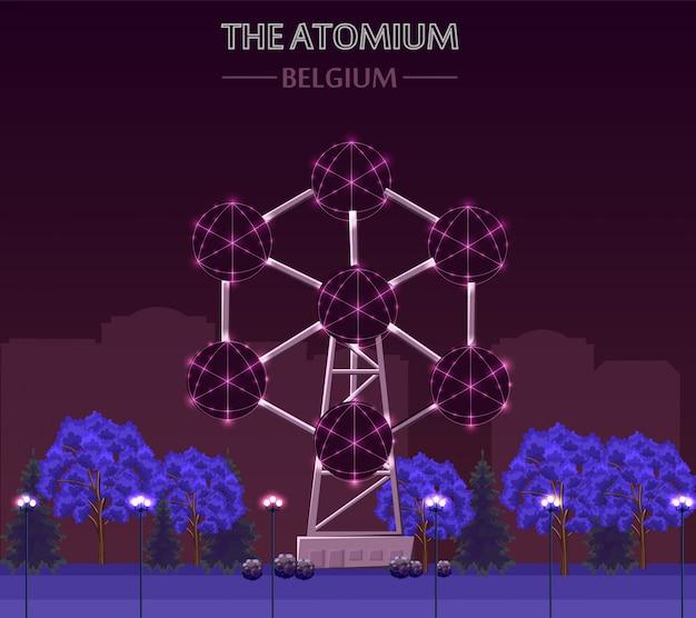 O edifício de atomium marco em bruxelas à noite