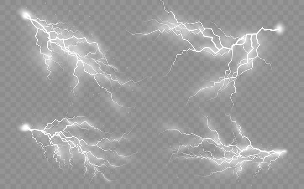 O efeito de raios e iluminação, conjunto de zíperes, trovoadas e raios