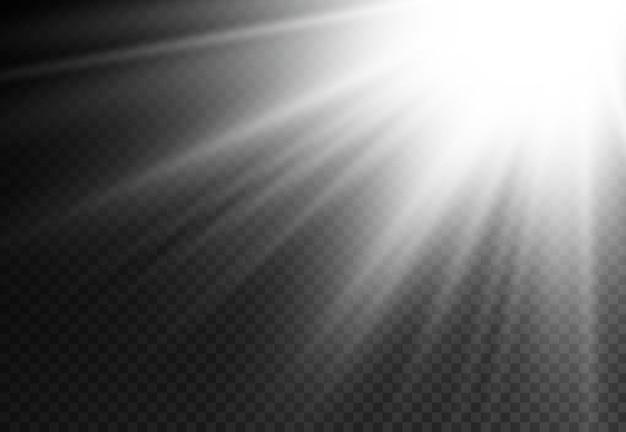 O efeito de reflexo de luz solar irradia o efeito de feixe branco borrado na luz do brilho da lente solar frontal